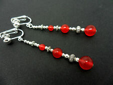 A PAIR TIBETAN RED JADE BEAD  EXTRA LONG DANGLY CLIP ON EARRINGS. NEW.