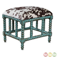 Chahna Turquoise Cow Print Western Style Small Bench Ottoman 23605