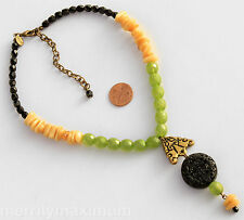 Chico's Signed Necklace Gold Tone Green Black Ivory Color Beads Carved Medallion