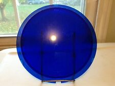 "LQQK!  Old DIETZ Vintage BLUE Glass TRAFFIC Light Lamp LENS 9 1/2"" x 8"""