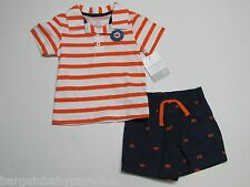 NWT Carters 2 Pc Crab Collared Tee T-Shirt & Shorts Set Baby Infant Boys 9 M $22