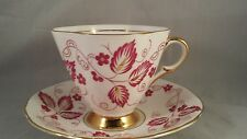 Clarence English Bone China Teacup and Saucer Red Leaves with Red Outline