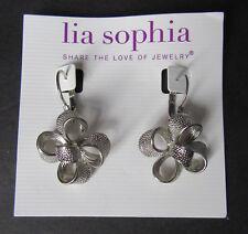T2 Lia Sophia Jewelry Flower Silver Plated Earrings