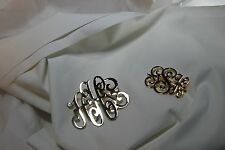 TWO (2) VINTAGE GOLD TONE MONOGRAM INITIAL LETTER PIN BROOCH