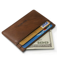 Mens Womens Leather Small Id Credit Card Storage Wallet Holder Slim Pocket Case