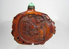 Antique Chinese Carved Antelope Horn Snuff Bottle - Rare