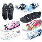 UK 3 - 8 Womens Canvas Pumps Flat Lace Up Shoes Plimsoles Ladies Trainers BNIB