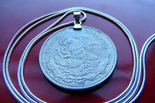 "Mexican Eagle & Snake 20 Peso Coin on a 30"" 925 Sterling Silver Snake Chain"