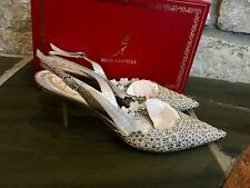 Rene Caovilla Crochet Slingback Lace  Leather Crystal Embellished Pump Size 37.5