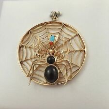 14K Gold HUGE Spider & Fly on Web Ruby Onyx Pearl Coral Turquoise Charm 11.2gr