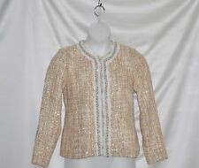 Joan Rivers Tweed Jacket With Embellished Detail Size 8 Beige Multi