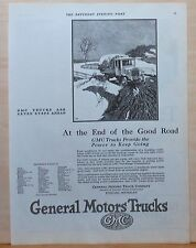 1924 magazine ad for GMC trucks - GMC truck keeps going at end of Good Road
