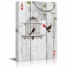 wall26 - Canvas - Hearts Ace - Little Bird Carrying Red Heart to His Lover-12x18