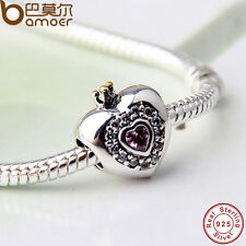 Black Friday Authentic S925 Sterling Silver Crown Heart Charm Fit European Chain
