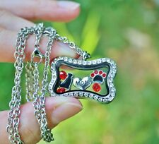 Dog Mom Living Locket Necklace Floating Charms Bone Paw Print Heart Red Black