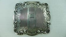 AN OLD ART DECO SOLID SILVER 800 HINGED LID POWDER BOX