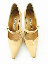 Women's Manolo Blahnik Nude Patent Leather Classic Designer Pump Shoes SZ 5 $795