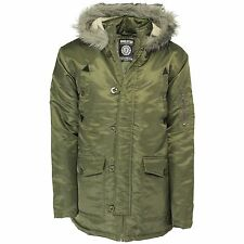 Soul Star Faux Fur Parka Jacket New Men's Warm Hooded Winter Padded Coat Celadon