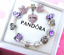 Authentic Pandora Silver Bangle Bracelet With Family Love European Charms.