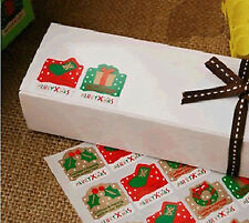 4Piece CHRISTMAS Merry XMAS Gift Packaging Wrapping Decor adhesive Stickers