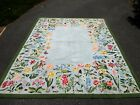 VINTAGE CLAIRE MURRAY 86X111 FLORAL HAND HOOKED RUG CABIN COUNTRY PRIMITIVE