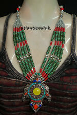 N21 Handmade Tibetan Turquoise Lapis Coral Amber resin Fashion Necklace Nepal