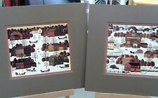 2 MATTED CHARLES WYSOCKI MINI PRINTS WINTER SLEIGH POST OFFICE SNOW KIDS CHURCH