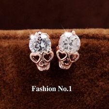 1pair Stud Earrings CZ 18K Gold Plated Skull Stud Earrings for women