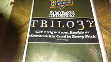 2008-09 UPPER DECK TRILOGY  HOCKEY HOBBY HOT PACK-1 ROOKIE OR AUTO OR MEM,CARD