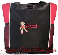 PERSONALIZED Sock Monkey Diaper Bag baby Tote beach book monogrammed New lime