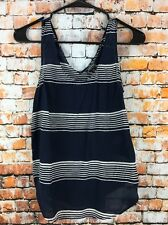 Lucky Brand Womens Size XS Navy Blue Striped Print 100% Silk Cross-Back Tank Top