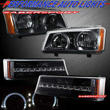 03-06 CHEVY SILVERADO BLACK DUAL HALO HEADLIGHTS + LED PARK SIGNAL LIGHTS 4PCS