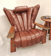"41"" W club chair brown Italian leather solid exotic polished wood steel frame"