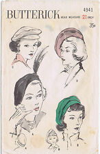 "BERET Hat Fabric Sewing Pattern BUTTERICK # 4941 Millinery Cap 21"" 3 STYLES"