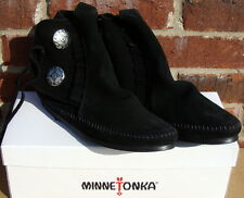 Minnetonka Women's Two Button Boot - Hardsole Black Suede - 9