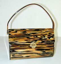 Wilardy Tiger Striped Lucite Purse Handbag with Goldtone Rhinestone Clasp - Rare