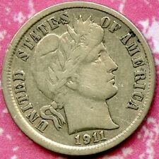 1911 (XF) 10C SILVER BARBER DIME
