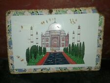 1930s THE TAJ MAHAL AGRA TOMB MOSQUE MAUSOLEUM VINTAGE PORCELAIN ENAMEL SIGN