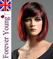 Ladies Straight Short Black Red Wig Hair in Classic Bob Style Fashion Full Wig