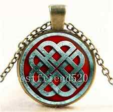 Vintage Viking Knot Photo Cabochon Glass Bronze Chain Pendant Necklace