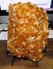 LARGE.  CITRINE CRYSTAL CLUSTER GEODE FROM BRAZIL CATHEDRAL W' STEEL STAND
