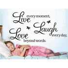 LIVE LAUGH LOVE Wall Quote Butterfly Stickers Vinyl Decal Removable Home Art Fad