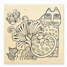 LAUREL BURCH Cat Blossom Feline Wood Mounted Rubber Stamp Stampendous LBW001 NEW