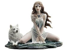"7.25"" Elf Maiden and Wolf Statue Sculpture Female Figurine Gothic Decor"