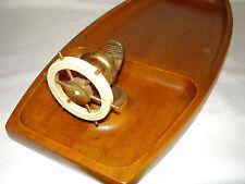 Ships Wheel Brass Nut Cracker with Tray Teakwood