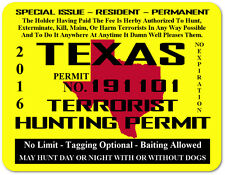 Texas Terrorist Hunting Permit Gun Safe/Man Cave Large Magnetic Sign/Poster