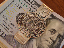 Vintage, Solid 925 AZTEC Calendar / Sun Coin MONEY CLIP. Plata 925. Unique!!