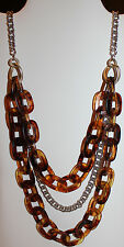 Lane Bryant Silver and Gold Chain with Large Orange-Brown Acrylic Link Necklace