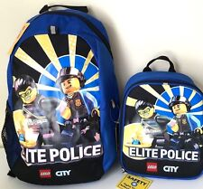 "Lego 16"" Backpack & Lunch Box Bag City Elite Police Bag  School Travel Blue Set"