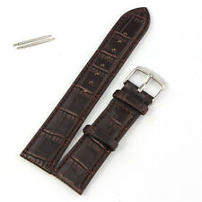Unique 22mm Soft Genuine Leather Strap Steel Buckle Wrist Watch Band Brown #